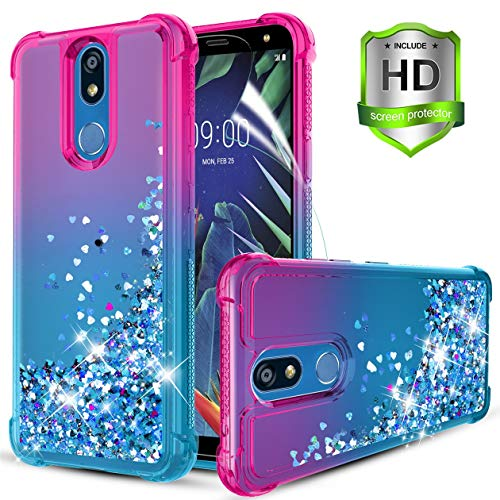 LG K40/LG K12 Plus/LG X4 2019/LG Solo LTE/LG Harmony 3/LMX420/LG Xpression Plus 2 Case,w HD Screen Protector Quicksand Bling Glitter TPU Bumper Shockproof Protective Case for Women/Girls.Pink/Teal