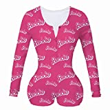 air-SMART Women Sexy Short Rompers Bodysuit Long Sleeve Printed V Neck Bodycon Stretch Button Pajama Jumpsuit (Pink,X-Large)