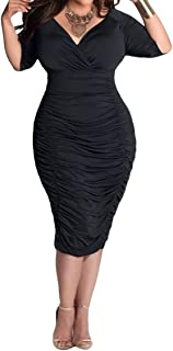LaSuiveur Womens V Neck Half Sleeves Sexy Plus Size Ruched Midi Dress