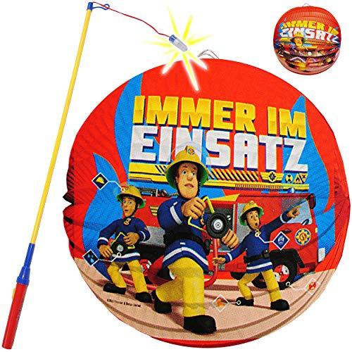 alles-meine.de GmbH Set: Laterne / Lampion + LED Laternenstab - Feuerwehrmann Sam - aus Papier - RUND - für Kinder Papierlaterne - Lampe - Laternen Lampions - Figuren - Laternenu..