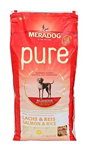 MERADOG PURE Adult Trockenfutter I Hundefutter ohne glutenhaltige Zutaten für sensible Hunde mit Lachs und Reis I 12,5 Kg