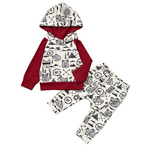 DAY8 Vêtement Bébé Garçon Hiver Cérémonie Ensemble Garçon Naissance Pas Cher Manteau Cartoon Sweat Garçon à Capuche Pull Fille Mode Manche Longue Haut Sport + Pantalons (100(18-24 Mois), Rouge)