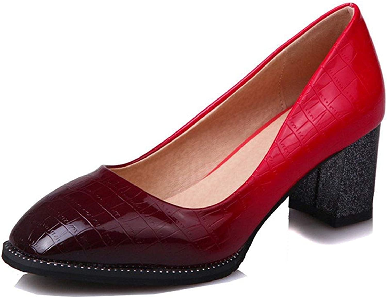 Unm Women's Mid Heel Pumps Wear to Work Office - Dressy Gradient Square Toe - Low Cut Chunky shoes