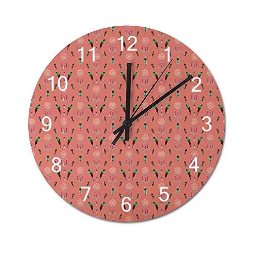 Reloj de Pared de Madera Redondo rústico silencioso sin tictac de 10 Pulgadas Mandala Bohemian Boho Square Visual Art Vintage Farmhouse Wall Decor para el hogar, la Oficina, la Escuela