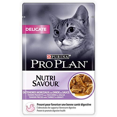 PURINA PRO PLAN DELICATE NUTRISAVOUR Katzenfutter nass, mit Truthahn, 24er Pack (24 x 85g)