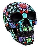 Atlantic Collectibles Day of The Dead Black Multi Colored Floral Tattoo Skull Figurine 8.25' L