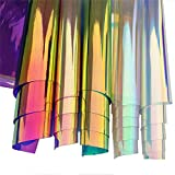 ZAIONE Lot de 5 feuilles A4 en PVC holographique transparent effet miroir pour chaussures, sacs, couture, patchwork, loisirs créatifs (5 couleurs)