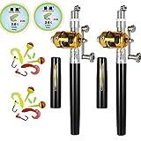 Jatzde HappyOutdoor Portable Mini Telescopic Pen Fishing Rod Reel Combo Pocket Fishing Rod Pole + Reel Aluminum Alloy + Line + Soft Lures 2 Sets Black