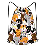 Cat Collage Drawstring Backpack String Bag Folding Water Resistant for School Gym Yoga Shopping Sports Cinch Sackpack Men Women