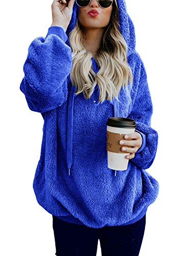 Blue Fleece Hoodie Women Zipper Detail Fuzzy Sweatshirt Cashmere Sweater Pullover with pockets