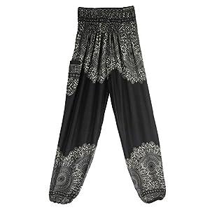 TUDUZ Pantalones Hombre MujerDe Harén Tailandés Pantalones De Yoga Boho FestivalHippy Pantalones Cintura Alta (NegroB, F)