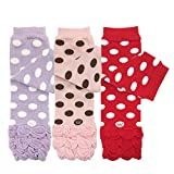 allydrew 3 Pack Polka Dots, Ruffles & Stripes Baby Leg Warmer & Toddler Leg Warmer for Boys & Girls, Purple, Pink, Red