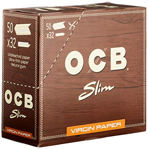 OCB Virgin King Size Slim Unbleached Rolling Paper - 1 Box (Total 1600 Papers)