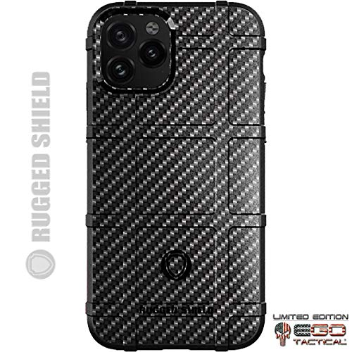 Limited Edition Customized Prints by Ego Tactical Over a Rugged Shield Case for Apple iPhone 11 Pro Max - Black Carbon Fiber