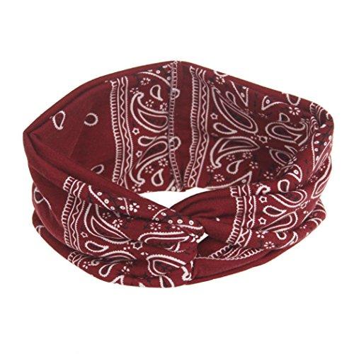Price comparison product image Women Headband Yoga Sport Boho Floal Style Criss Cross Head Wrap Hair Band (Wine Red)