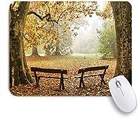 ECOMAOMI 可愛いマウスパッド カラフルな秋の森の2つのベンチ 滑り止めゴムバッキングマウスパッドノートブックコンピュータマウスマット