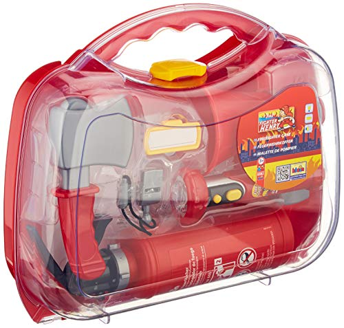 Theo Klein 8982 Maletín de bomberos de Fire Fighter Henry, Incluye extintor con función de rociado, Linterna a pilas y numerosos accesorios, Medidas: 33,5 cm x 10 cm x 28,1 cm,