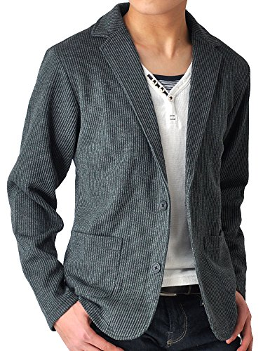 (アローナ) ARONA テーラードジャケット メンズ ジャケット シャドーストライプ/YC A31チャコールショート丈 M