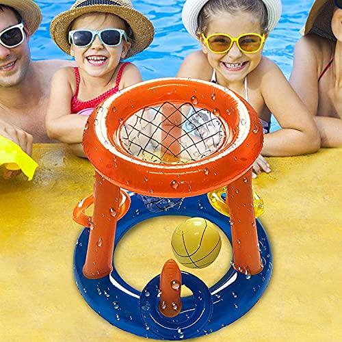 Songmei Flotador Inflable de Piscina Piscina Hinchable de Baloncesto Canasta De Baloncesto Hinchable con Pelota Juegos Acuáticos para Niños Flotador Inflable