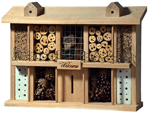 Luxus-Insektenhotels 22625e Eichenholz-Insektenhotel Landsitz Superior, fertig gebautes Insektenhaus, 47x34x12,5 cm, Bienenhotel aus stabilem Vollholz, Marienkäferhaus/Schmetterlingshaus XXL