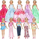 Tanosy 10 Sets Dresses 5 PCS Fashion Wedding Party Dresses 3 Tops 3 Pants Outfits and 2 Sets Bikini Swimsuits for 30cm/11.5 inch Girl Doll Xmas Gift