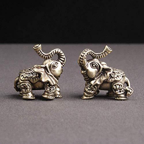 JLXQL Estatuas Cobre Puro Elefante Nafu decoración de Escritorio para el hogar Objetos de Pareja decoración té Mascota pequeña vajilla de Bronce