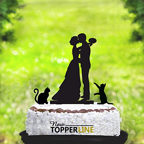 Cake Topper With Cats Silhouette Cake Topper With Two Cats Cats Cake Topper Wedding Cake Topper With Cats Cake Topper Cats Cat Wedding