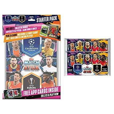 Match Attax 2020-21 Topps Champions League Cards - Starter Pack + 2 Bonus Promo Packs (Album, 37 Cards + LE Gold Firminho Card)