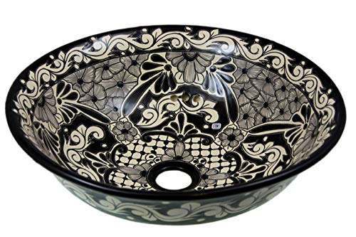 SERENA - Talavera mexikanisches Waschbecken - Cerames | Aufsatzwaschbecken 40,5 cm x 15 cm | Schwarze Waschschale aus Mexiko für Badezimmer, rustikale Küche