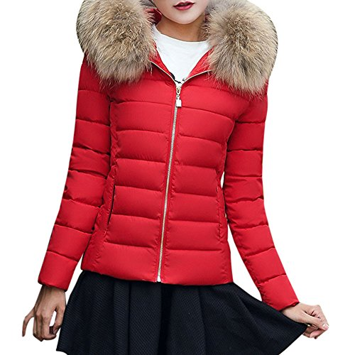 LEXUPE Women Autumn Winter Warm Comfortable Coat Casual Fashion Jacket Fashion Solid Women Casual Thicker Winter Slim Coat Overcoat Red