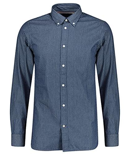 Tommy Hilfiger Herren Slim Look Print Shirt Hemd, Light Indigo/White, XX-Large