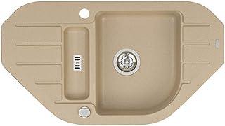 Spüle Spülbecken Granit 50x90 cm 1,5 Becken 1,5 Abtropffläche Küche Einbauspüle Küchenspüle gesprenkelt Eckspülbecken Restebecken Siphon  Drexexcenter Waschbecken