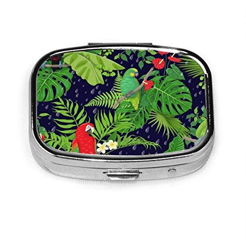 Caja decorativa cuadrada personalizada personalizada con diseño de pájaros tropicales y hojas de Amazon