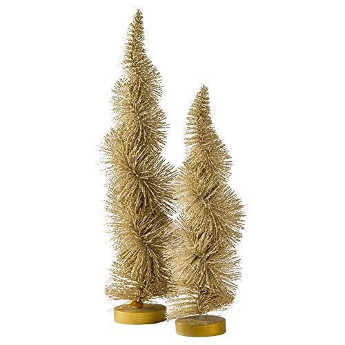 TAG Gold Evergreen - Árboles de Navidad metálicos Brillantes, Decorativos, decoración de Mesa de Plantas Artificiales, decoración de Yule, para Interiores y Exteriores, Juego de 2