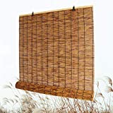 Bamboo Roll Up Shade, Reed Roller Blinds Curtain, Sunshade/Eco/Waterproof, for Indoor, Outdoor, Kitchen, Patio, with Lifter, 28' W × 72' L,36' W × 64' L,48' W × 72' L