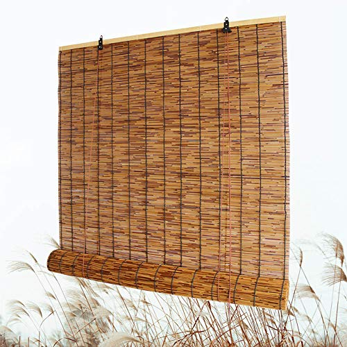 """Bamboo Roll Up Shade, Reed Roller Blinds Curtain, Sunshade/Eco/Waterproof, for Indoor, Outdoor, Kitchen, Patio, with Lifter, 28"""" W × 72"""" L,36"""" W × 64"""" L,48"""" W × 72"""" L"""