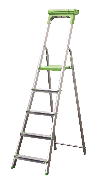 SafeTools - Escalera de aluminio con puerta de herramientas con cierre de 5 peldaños, color gris y verde: Amazon.es: Oficina y papelería