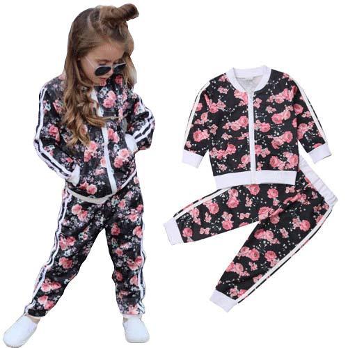 Geagodelia Completo da Bambina Sportivo Casual Top Felpa a Maniche Lunghe + Pantaloni Stampato Floreale Tuta Ragazza Set Pantaloni (Nero, 6-7 Anni)
