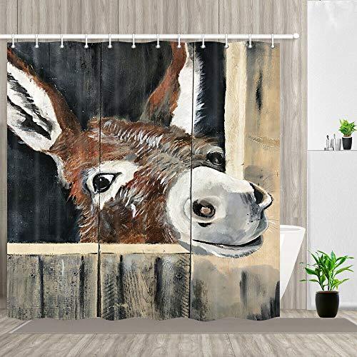 JHTRSJYTJ Ölgemälde Esel Duschvorhang ist geeignet für Badezimmer,Polyester wasserdicht,12Haken,180X180cm,Wohnkultur