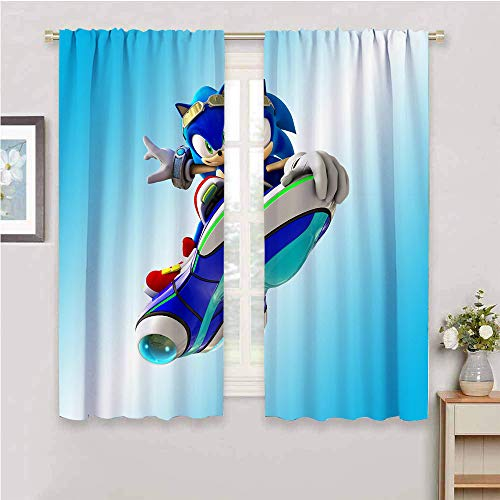 Cortinas con bloqueo de luz para sala de estar, cortinas de sonido para dormitorio de niños, cortinas opacas para recámara Sonic Tails (personaje) Nudillos, Sonic Force, poliéster, Color_07, W52' x L84'(132cm x 213cm)