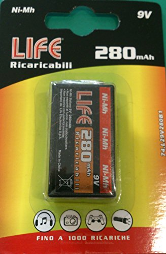 PILE RECHARGEABLE 9 VOLTS 280 mAh NI-MH BATTERIE 9 V TRANSISTOR RECTANGULAIRE 280 mAh