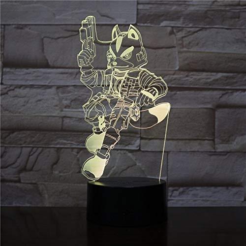 Cambio de color led decoración fresca lámpara de mesa 3D LED USB decoración de escritorio de dibujos animados luz nocturna amantes de los niños regalo de fiesta de cumpleaños