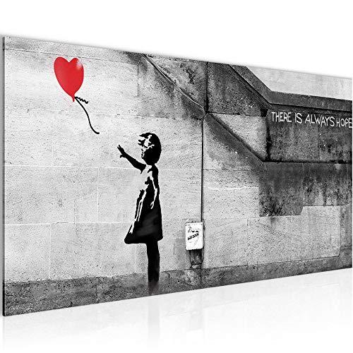 Wandbilder Banksy Ballon Girl Modern Vlies Leinwand Wohnzimmer Flur Street Art Red 301612a