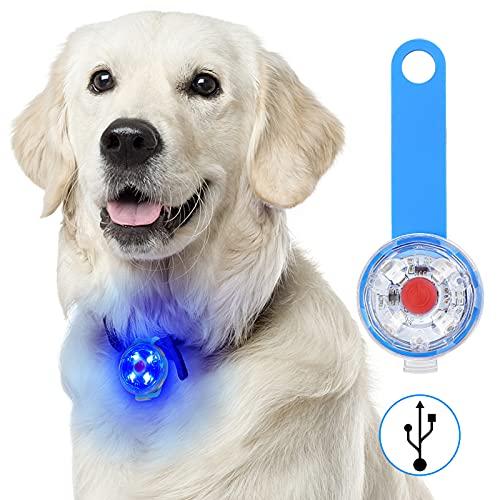 Fttouuy Sicherheits LED Blinklicht für Hunde, Katzen - USB Wiederaufladbar LED Licht Leuchtanhänger Hund, 3 Blinkmodis wasserdichte Sicherheit Haustier Lichter(Blau)