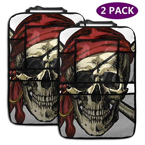 2 Pack Car Backseat Organizer Pirate Skull and Crossbones Bandana and an Earring Car Seat Protector Kick Mat with Storage Pockets for Toy Bottle Book Drink Universal Fit Travel Accessories for Kid