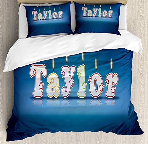 BedBed UP Taylor 3 Pieces Full Bedding Sets, Home Comforter Duvet Quilt Cover Sets, 2 Decorative Pillowcases, Bedspread for Childrens/Kids/Teens/Adults(Common Given Name in English Happy Occasion Ca)