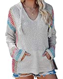Ferbia Women Boho Sweater Hooded Hoodie Baja Colorblock Pullover Striped V Neck Mexican Knit Christmas Sweatshirt