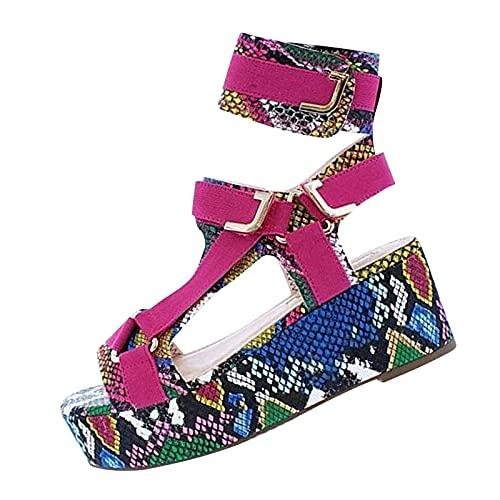 Nuevo 2021 Sandalias Mujer Verano Moda Elegante Zapatos de plataforma Cuña Velcro Zapatos de Boca de Pescado Playa Zapatillas Sandalias de Punta Abierta casual Fiesta bar Tacones Altos Sandalias