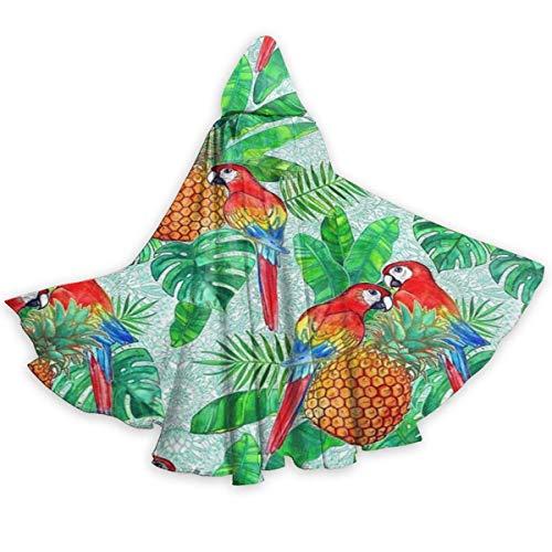 Capa del Cabo para Adultos Pias y Loros Tropical Verano Halloween Capas con Capucha Disfraces Capas de Cosplay Bata Fiesta de Brujas Capa con Capucha