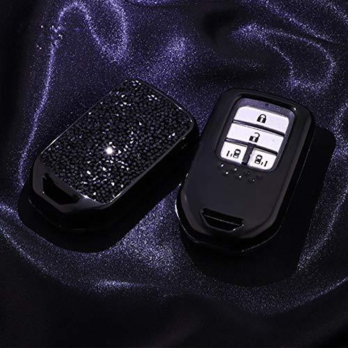 YJLOVK Shiny Diamond Crystal Car Key Cover Case Cadena para Honda Hrv Civic 2017 Accord 2003-2007 CR-v Freed Pilot Auto Shell Accesorios, A, Negro